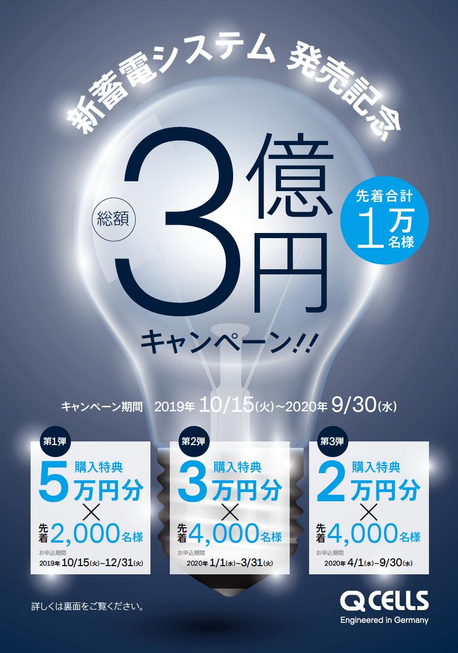 【Qセルズ】新蓄電システム導入で総額3億円キャンペーン!